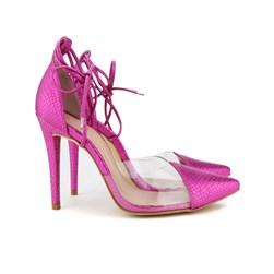 Scarpin Transparente De Amarrar Sapato Vinil Salto Alto  Pink