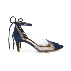 Scarpin Transparente Sapato Vinil Feminino Lançamento  Marinho