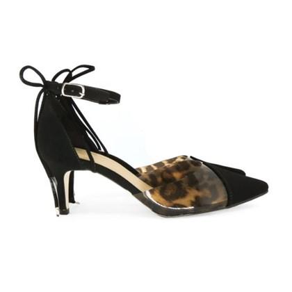 Scarpin Transparente Sapato Vinil Feminino Lançamento  Onça/Preto