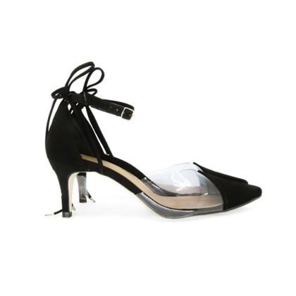Scarpin Transparente Sapato Vinil Feminino Lançamento  Preto