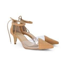 Scarpin Transparente Sapato Vinil Feminino Lançamento  Tan