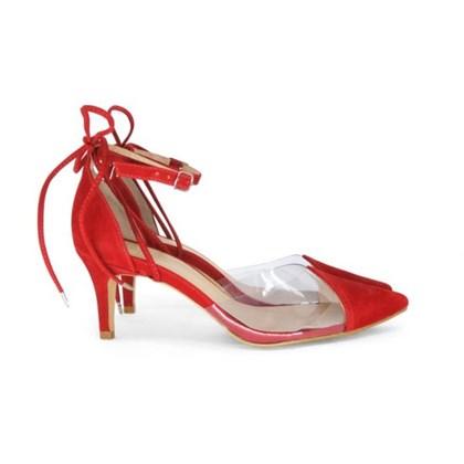 Scarpin Transparente Sapato Vinil Feminino Lançamento  Vermelho