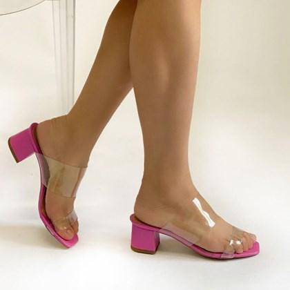 Tamanco Mule Andressa Feminino em Vinil Transparente Salto Grosso Pink