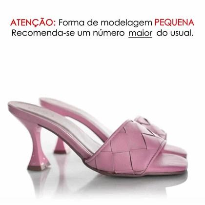 Tamanco Mule Feminino Salto Taça Rosa