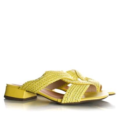 Tamanco Mule Ivete Salto Baixo Amarelo