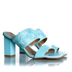 Tamanco Mule Pietra Salto Grosso com Costuras Azul Claro