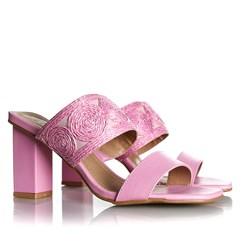 Tamanco Mule Pietra Salto Grosso com Costuras Rosa