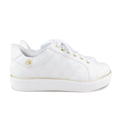 Tênis Casual Feminino com Costura Floral Branco