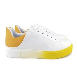 Tênis Casual Feminino Cor Degradê Branco/Amarelo
