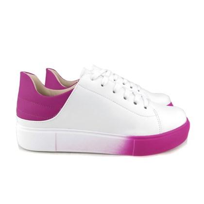Tênis Casual Feminino Cor Degradê Branco/Pink
