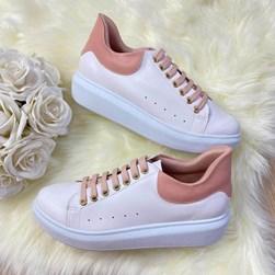 Tenis Casual Feminino Dora Comfy Cadarço Colorido Branco/Rosa