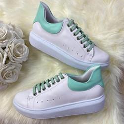 Tenis Casual Feminino Dora Comfy Cadarço Colorido Branco/Verde