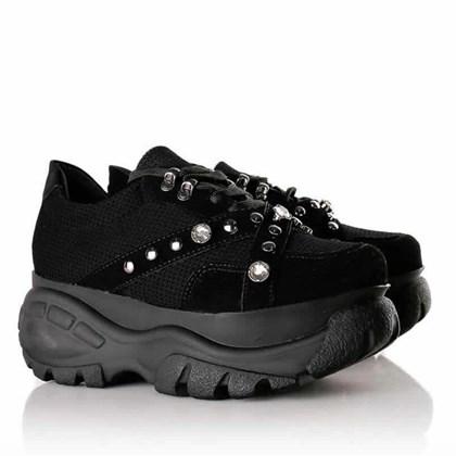 Tênis Feminino Buf Pedraria Chunky Sneaker  Preto Nobuck