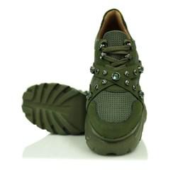 Tênis Feminino Buf Pedraria Chunky Sneaker  Verde Militar