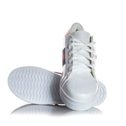 Tênis Feminino Casual com Faixa e Perola Lateral Branco