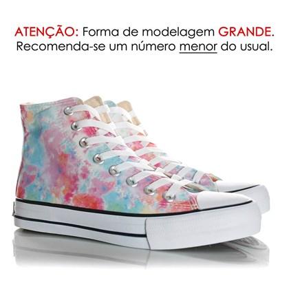 Tênis Feminino Casual Old Star Cano Alto Lona Botinha Branco/Tie Dye