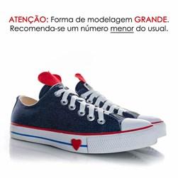 Tênis Feminino Casual Old Star Coração Jeans Jeans