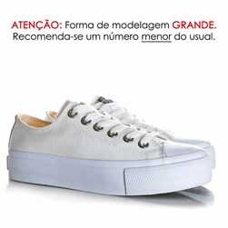 Tênis Feminino Casual Old Star Sola Alta Flatform Lona Branco/Caramelo
