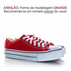 Tênis Feminino Casual Old Star Sola Alta Flatform Lona Vermelho