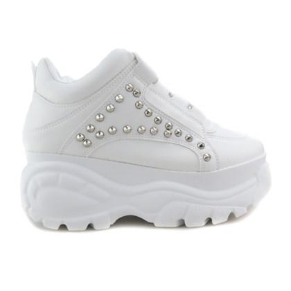 Tênis Feminino Chunky Sneaker Buf com Spikes Lançamento Branco Napa