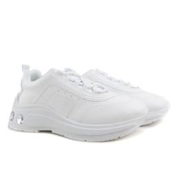 Tênis Feminino Chunky Sneaker Com Pedraria no Solado Branco Napa
