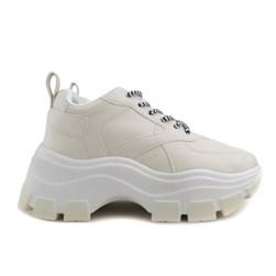 Tênis Feminino Chunky Sneaker Sola Alta Blogueira  Creme