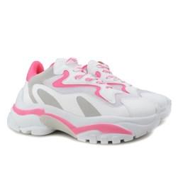 Tênis Feminino Chunky Sneaker Sola Alta Branco e Pink Neon Branco/Rosa