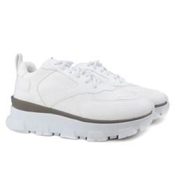 Tênis Feminino Chunky Sneaker Sola Alta com Recortes Blogueira Branco Napa