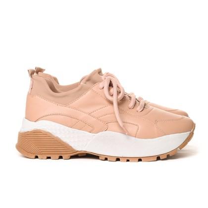 Tênis Feminino Dad Sneaker Tratorado Bicolor Pele