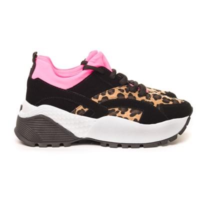 Tênis Feminino Dad Sneaker Tratorado Bicolor Preto/Onça