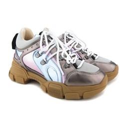 Tênis Feminino Dad Sneaker Tratorado Prata Velho