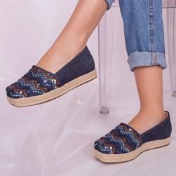 Tênis Feminino Iate Alexia Jeans com Brilho Jeans