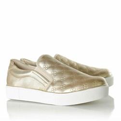 Tênis Feminino Iate Slipon com Costuras Calce Fácil Ouro