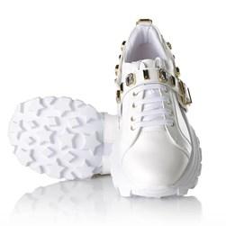 Tênis Flashtrek Chucky Sneakers Pedraria e Fivela Branco Napa