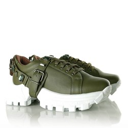 Tênis Flashtrek Chucky Sneakers Pedraria e Fivela Verde Militar