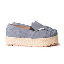 Tênis Iate Slipon Flatform Sola Alta Com Corda Jeans
