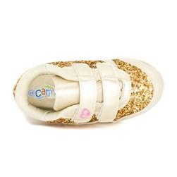 Tênis Infantil Feminino Com Glitter Calce Fácil Moda Menina Ouro