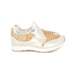 Tênis Infantil Feminino Com Glitter Zíper Calce Fácil Moda Menina Ouro Light