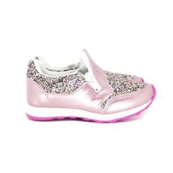 Tênis Infantil Feminino Com Glitter Zíper Calce Fácil Moda Menina Rosa