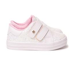 Tênis Infantil Feminino De Velcro Moda Menina Oferta Branco