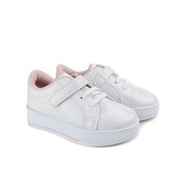 Tênis Infantil Menina com Velcro e Verniz Branco