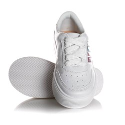 Tenis Infantil Menina Sola Alta com Riscas Coloridas Branco