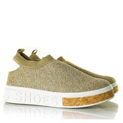 Tenis Meia Feminino Calce Facil Sola Shoes  Bege