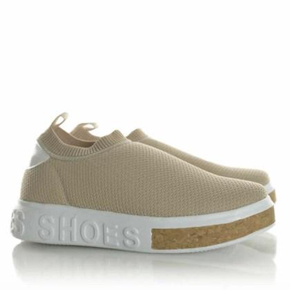 Tenis Meia Feminino Calce Facil Sola Shoes Bege Claro