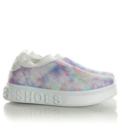 Tenis Meia Feminino Calce Facil Sola Shoes  Branco/Tie Dye