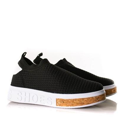 Tenis Meia Feminino Calce Facil Sola Shoes Preto