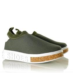 Tenis Meia Feminino Calce Facil Sola Shoes  Verde Militar