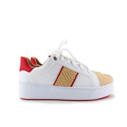 Tenis Palha OffLine Branco/Vermelho