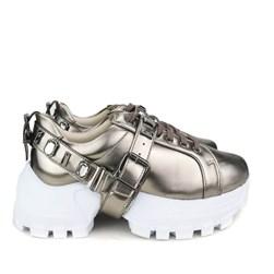 Tênis Pedraria Flashtrek Chucky Sneakers Sola Alta Lançamento Prata Velho