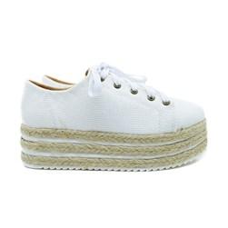 Tenis Plataforma Feminino Branco Flatform Com Corda  Branco